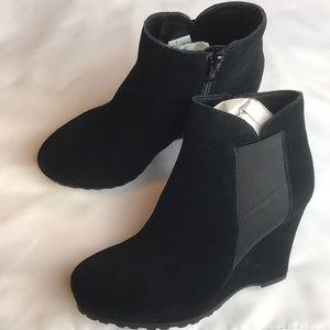 Vaneli suede booties. 3.5 inch wedge heel